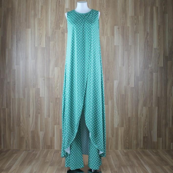 Top/vestido largo sin mangas estampado lunares verde