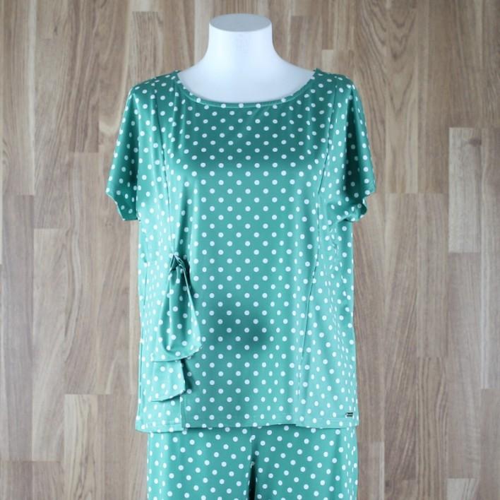 Camiseta manga corta y lazo lateral estampado lunares verde