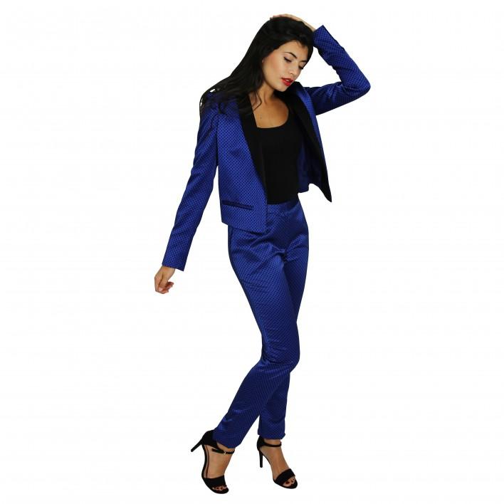 Pntalón azul topitos negros BLUMARINE