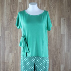 Camiseta manga corta y lazo lateral verde