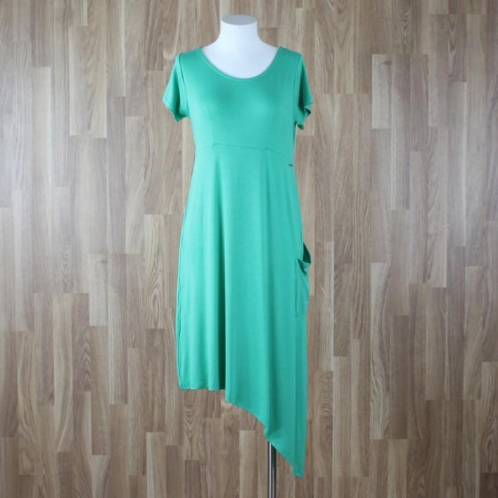 Vestido manga corta con bajo asimétrico verde