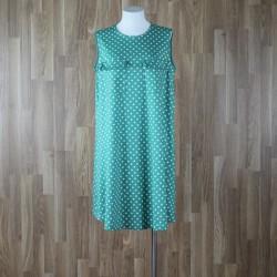 Vestido sin mangas bolsillos pecho estampado lunares verde