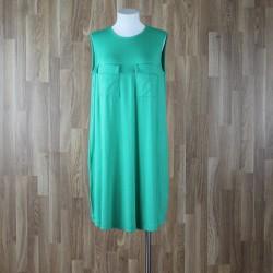 Vestido sin mangas bolsillos pecho verde