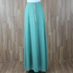 Falda larga / vestido palabra de honor con estampado Lunares verde