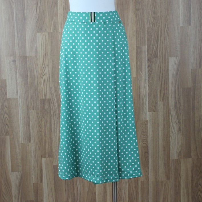 Falda corta / vestido corto palabra de honor con estampado lunares verde