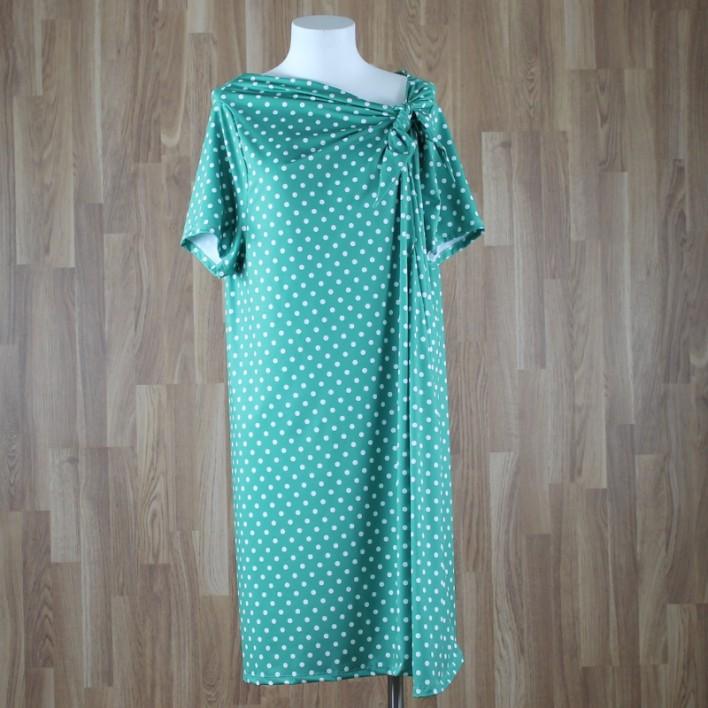 Vestido manga corta con bajo rodilla y lazada cuello estampado lunares verde