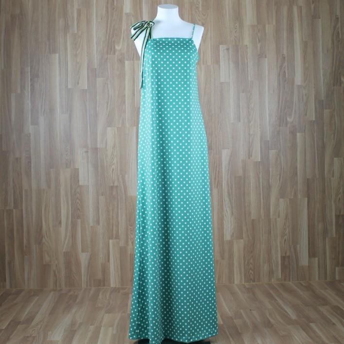 Vestido largo con cinta tirante lazo y estampado lunares verde