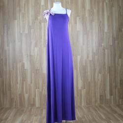 Vestido largo con cinta tirante lazo color morado