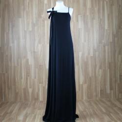 Vestido largo con cinta tirante lazo color negro