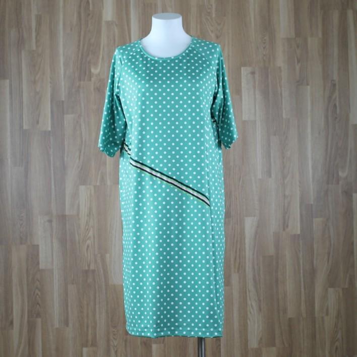 Vestido corto con manga al codo y tabla con estampado lunares verde