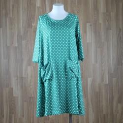 Vestido manga al codo con bolsillos estampado lunares verde