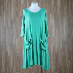 Vestido manga al codo con bolsillos verde