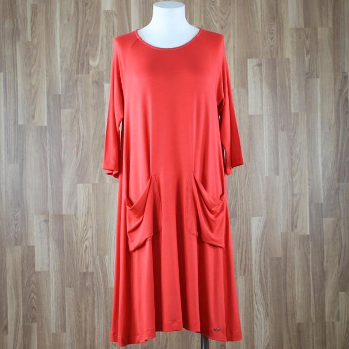Vestido manga al codo con bolsillos rojo