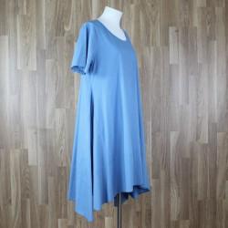 Vestido algodón manga corta azul