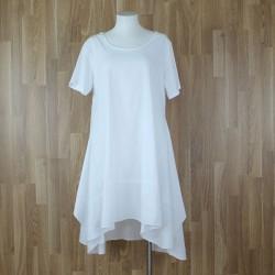 Vestido algodón manga corta blanco