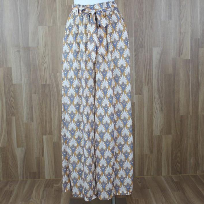 Pantalón fluido estampado tonos mostaza azul