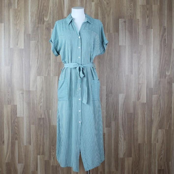 Vestido camisero rayas aguamarina