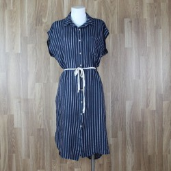 Vestido lino camisero rayas marino