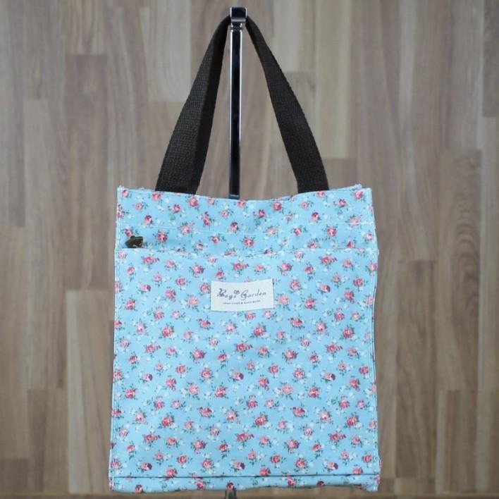 Bolsa merienda estampado flores azul
