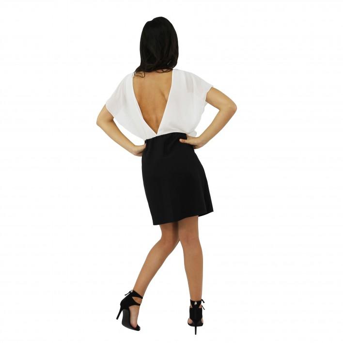 Vestido bicolor pedrería XTSY