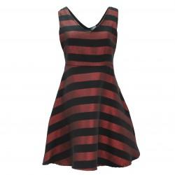 Vestido corto rayas granate/negro FANNY COUTURE