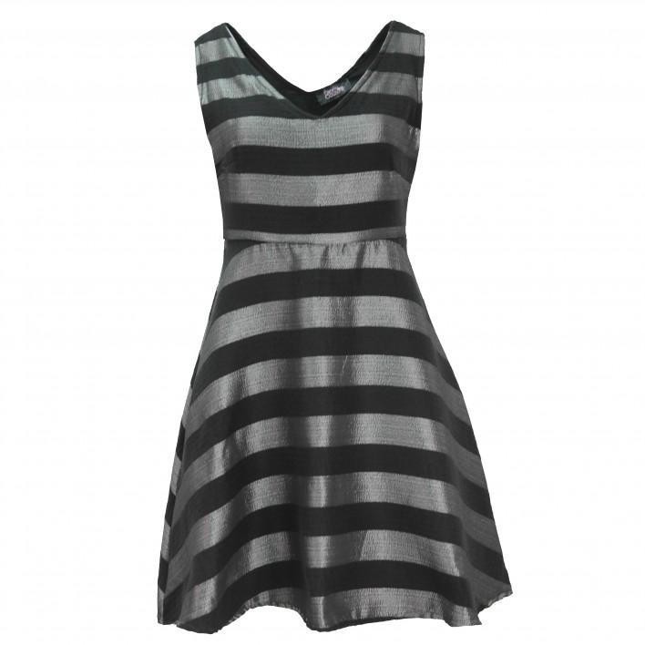 Vestido corto rayas gris/negro FANNY COUTURE