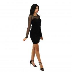 Vestso corto negro con transparencias en escote FANNY COUTURE